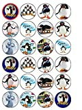 24 Pingu Penguin Edible Wafer Paper Cup Cake Toppers