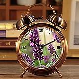 Wecker, Retro Portable Twin Bell Neben Wecker mit Nachtlicht 456.Lavender, Blume, Lila, Natur, Blüte, Blühen, Geruch