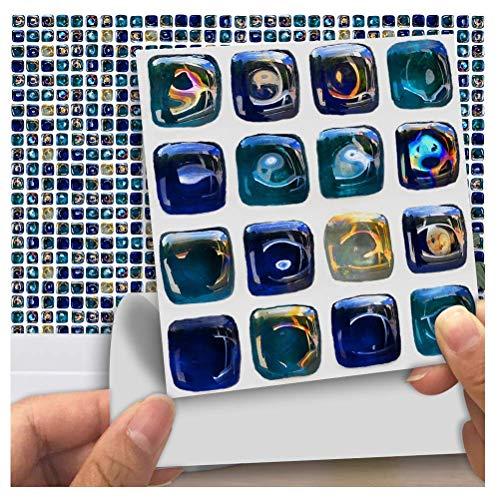 APSOONSELL Marmor Möbel PVC Wasserdicht Selbstklebende Tapete Küche Bad Mosaik Fliesen Sticker Wand Kunst, Blau Glas Mosaik (18, 10cm 10cm) -