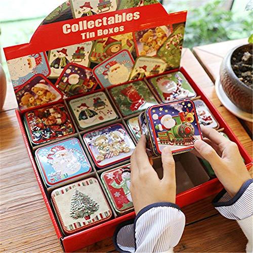 Miyaer 12pcs Weihnachten kleine quadratische Blechdose, Weihnachten Blechdose Verpackung Geschenkbox für Süßigkeiten Backen Keks - ca. 7,6 7,6 6,5 cm / 2,99 2,99 2,56 Zoll Decent