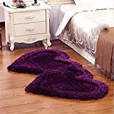 #5: Ab Home Decor Premium Heavy Super Soft Silky Shaggy Anti Skid Heart shape Bed Runner Carpet Mat For Bedroom-Living Room -Hall-Floor-Home Decoration, Purple