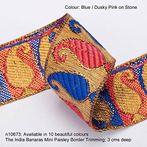 Neotrims Paisley Floral Jacquard Seide Griff bänderrand Dekoration; Traditionell 9Meter Spule für Sari Border. Auch für Kameez, Basteln und für Home Décor. 3cms Deep Grenze -