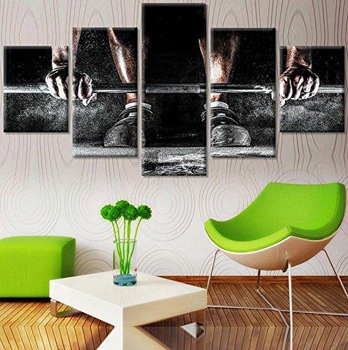 ... Wohnzimmer, 4 Panel / 5 Stück Body Building Sport Malerei Moderne  Drucken Leinwand Bilder Weightlifting Poster Liveing ...