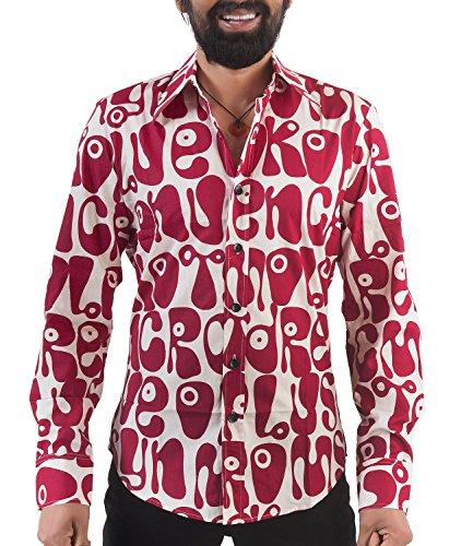 70er Jahre Herren Partyhemd Rot Hippie Look M