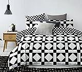 DecoKing Premium 84878 Bettwäsche 200x200 cm mit 2 Kissenbezügen 80x80 weiß schwarz Bettbezüge Microfaser geometrisches Muster Hypnosis Oscar