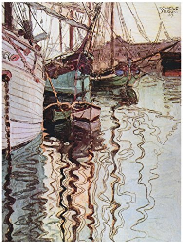 EGON SCHIELE SAILBOATS IN WELLENBEWEGTEM WATER THE PORT TRIESTE ART PRINT 12x16 inch 30x40cm 831OM