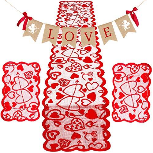 San valentino decoration,nice2u runner da tavola 14 x 72 inch con 2 pezzi cuore rosso runner table tovagliette e bunting banner di san valentino per il giorno di wedding day madre di san valentino