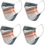 nestroots Cotton Face Mask Pack of 4Multicolour stripeWashable Reusable Face Masks |Soft Earloop/Mouth Nose cover Face Masks