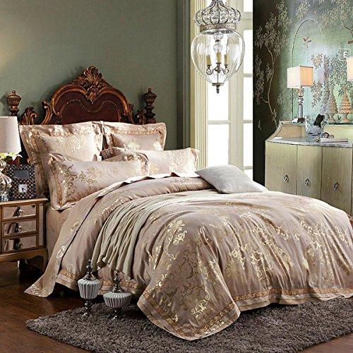 Love Cloud Luxus Satin Jacquard Bestickt Bettwäsche-Sets Schlafzimmer Flachblech Königin Duvet Set Enthalten 1 Bettbezug 1 Flache Blatt 2 Kissenbezüge, C, 220X240Cm