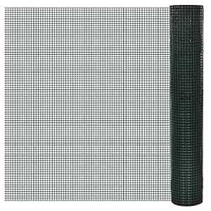vidaXL Grillage plastifié à mailles carrées 1m x25 m,mailles 19 x mm