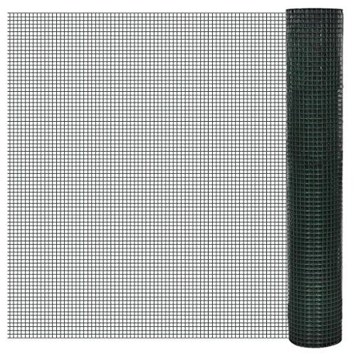 vidaXL Grillage plastifié à mailles carrées Clôture de jardin 1 x 25 m mailles 25x25mm