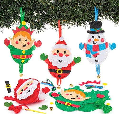 Kit da Cucito per Decorazioni Natalizie per Bambini da Creare, Decorare e Personalizzare - attività Creativa Fai da Te Natalizia per Bambini (Confezione da 3)