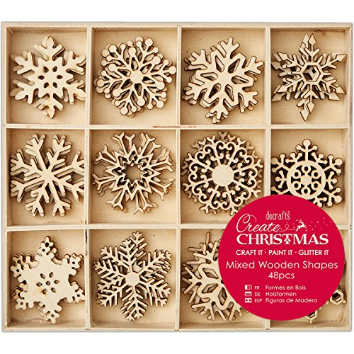 Docrafts Create Christmas Snowflakes 4cm Mixed Wooden Snowflakes (48 pieces)