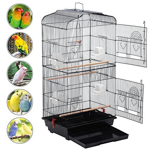 Yahee Vogelkäfig Voliere Vogelhaus für Papagei Wellensittich (Schwarz)