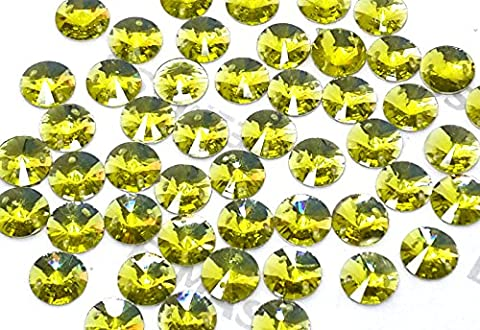 Pack of 50, (14mm, Citrine Yellow) Round Rivoli Shape, EIMASS Resin Crystals, Sew or Glue on Flat Back Rhinestones to Embellish Costumes, Clothes, Learning Projects