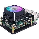 GeeekPi Raspberry Pi lågprofil CPU-kylare, hallon Pi horisontell ICE tornkylare, RGB kylfläkt med Raspberry Pi kylfläns för R