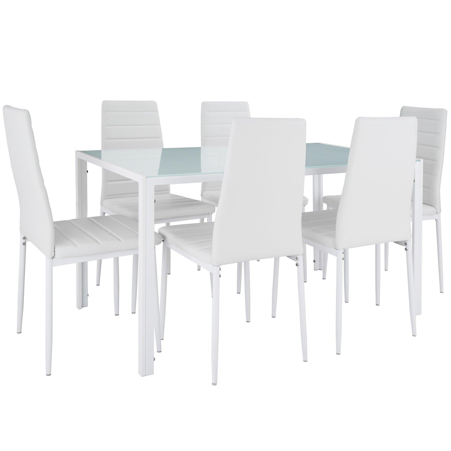 Tectake Table De Salle A Manger Avec 6 Chaises Diverses Couleurs