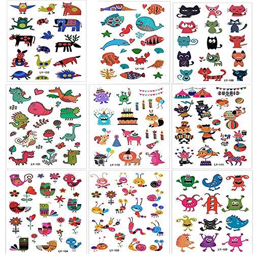 Tatuaggi temporanei,morkia 160pcs animale tatuaggi temporanei per bambini, falso tatuaggio tattoos adesivi per bambini festa di compleanno sacchetti regalo giocattolo