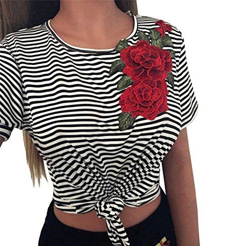 Damen Shirt Kurzarm Ronamick Frauen Mode Sexy T-Shirt Bare Tops Midriff Gestreiften Blusen Appliques Rose Tops (Schwarz, S) Bare Midriff Top