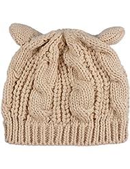 Trenzado de sombrero Gato oído Crochet YACUN mujer Knit Beanie gorras