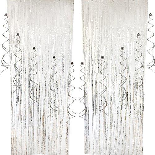 (Cocodeko 2 Packung Folie Vorhang und 10 Stück Spiral Girlanden, Deckenhänger Metallic Folie Fransen Vorhänge Tür Fenster Vorhänge für Hochzeit Geburtstag Party Dekorationen - Silver)