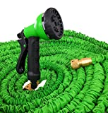 ** SALE ** 100FT Lightweight Durable Expanding Hosepipe with 8 function Spray Gun for Watering the Garden / Washing the Car / Cleaning Windows / *** FREE Hose Holder *** / Solid Brass / (100FT, Green)