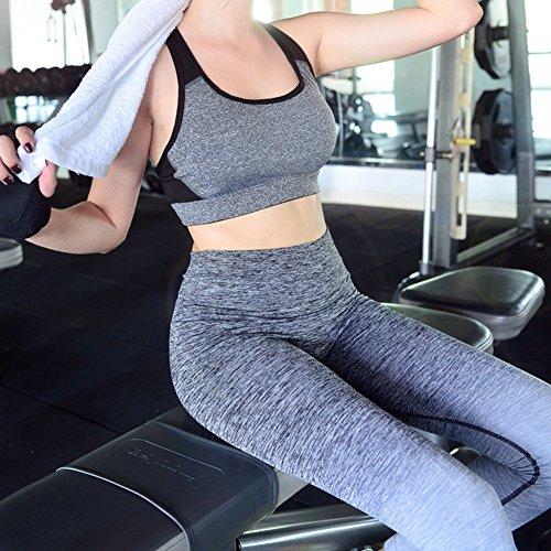 hjuns Femme Extérieur Gradient Color Fitness pour Femme Marche Course à Pied Pantalon de yoga pour femme Gris - Gris