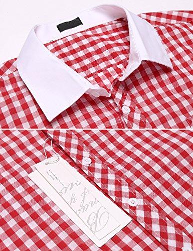 Burlady Karohemd Herren Langarm Hemd Kariert Regular Fit Trachtenhemd Cargo Bügelleicht Freizeithemd Männer Rot