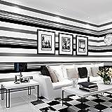 Poowef Wallpaper Tv Hintergrund Wand Papier, Film, Film Und Fernsehen Wohnzimmer Moderne, Einfache Vliesstoff Air Fashion Schwarz Und Weiß Grau Gestreiften Tapeten, 0,53*10 M