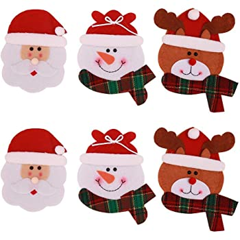 Gudotra 12pz Set Portaposate Natalizie da Babbo Natale Tasche Posate ... 52f608a448ae