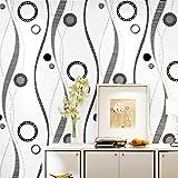 AIKE Tapeten-Moderne unbedeutende Schwarze weiße Graue Tricolor Streifen-Muster-3D Tapeten-Rolle für Schlafzimmer/Leben / Esszimmer