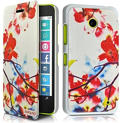 Seluxion - Coque Housse Etui à Motif KJ12 rabat latéral et porte-carte pour Nokia Lumia 635 + Film de Protection