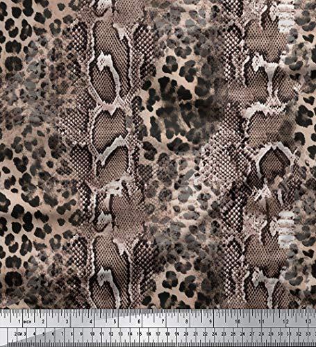 Soimoi Rosa Seide Stoff Leopard & Schlange Tierhaut gedruckt Craft Fabric 1 Meter 42 Zoll breit