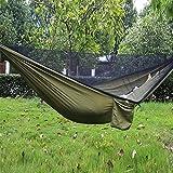 Esoes Camping Hamac avec moustiquaire–Lit à Suspendre Portable extérieur Hamac de Voyage pour Le Camping randonnée Jardin de Couchage Taille Unique Vert Militaire