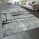 Paco Home Designer Wohnzimmer Teppich Modern Holz Optik Rustikal Grau Schwarz, Grösse:120x170 cm
