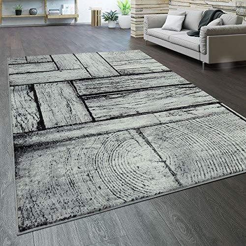 Paco Home Designer Wohnzimmer Teppich Modern Holz Optik Rustikal Grau Schwarz, Grösse:120x170 cm - Designer Wohnzimmer