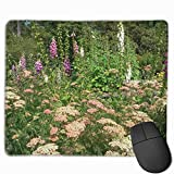 Tappetino per mouse da gioco, Mouse Pad White Yarrow Pink Foxglove Flowers Rectangle Non-Slip Unique Designs Gaming Rubber Mousepad Stitched Edges Mouse Mat 25 x 30cm For Notebooks,Desktop Computers