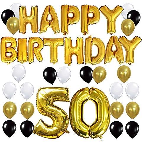 KUNGYO Joyeux Anniversaire Happy Birthday Lettres Ballon+Nombre 50 Mylar Foil Ballon +24 pièces Noir Or Blanc Latex Ballon- Parfait pour la Décoration de Fête D'anniversaire de 50