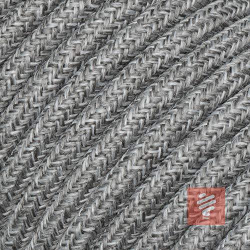 Textilkabel für Lampe, Stoffkabel 3-adrig (3x0,75mm²), Grau-Melange - 5 Meter