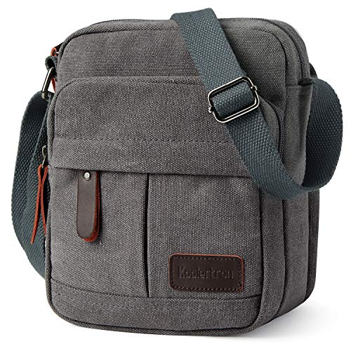 Koolertron Men Shoulder Bag Small Retro Canvas Satchel Zipped Unisex  Lightweight Long Strap Crossbody Travel Messenger 76b1b9e98258f