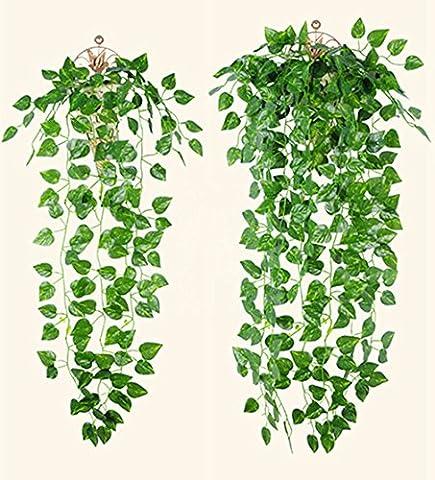 2PCS Plantes Artificielles de décoration pour Maison Jardin Mariage Interieur et Exterieur 90cm Long (feuilles de radis vert)