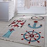 Carpetsale24 Kinder Teppiche für Kinderzimmer, Babyzimmer, Spielteppich Pirat Motiv kariert, Multi Farben Beige Blau Rot Grün Weiss_0510, Maße:80x150 cm