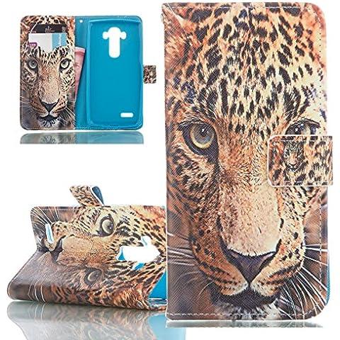 ISAKEN Custodia LG G4, Cover LG G4 Flip Case, Elegante borsa Custodia in Pelle Protettiva (Leopard Elegante)