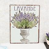 Dibor - French Style Accessories for the Home Vintage Metal Lavande plaque murale à suspendre–Le cadeau idéal pour une nouvelle Maison–H35X L 26x D0.1cm