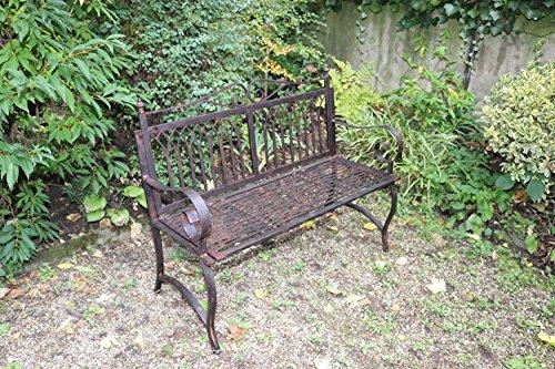 Gartenbank Bank Antik-Stil Garten Metall Eisen braun Gartenmöbel Parkbank 119cm - 3