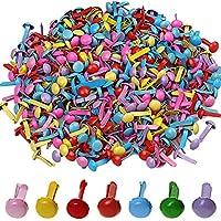 500piezas Mini tachuelas, wowot 5mm Multicolor redondo Brad, estampado de papel Craft Scrapbooking DIY herramienta