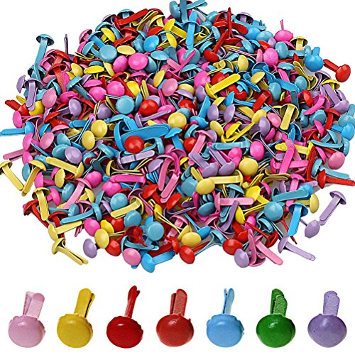 Wowot Mini-Brads, 5 mm, Mehrfarbig, rund, Brad, Papierhandwerk, Stempeln, Scrapbooking, DIY Werkzeug (zufällig)