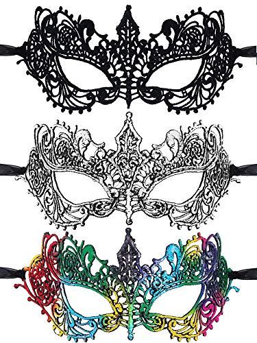 Passende Kostüm Drei - 3 Stücke Maskerade Masken Venezianische Masken Spitze Augenmasken für Halloween Kostüm Party Abschlussball Gefaleln (Stil 3)