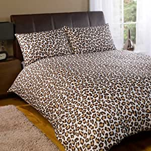 dreamscene parure housse de couette 2 personnes leopard. Black Bedroom Furniture Sets. Home Design Ideas