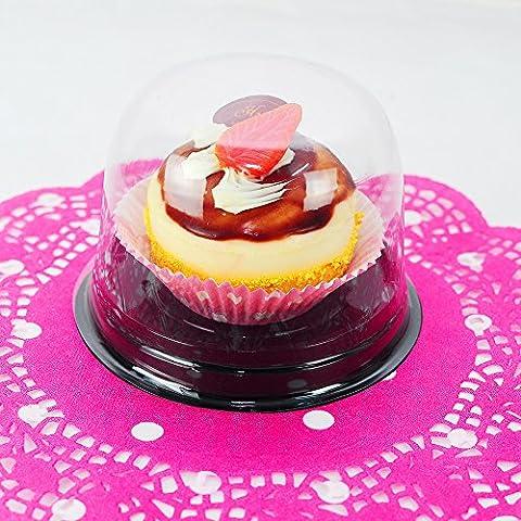 25 PCS Premium Decorative Fancy Plastic Cupcake Pod w/ Clear Dome Top by QQ Studio Group - Fancy Dome